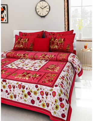 RUDRA  Orange 100% Cotton Rajasthani Jaipuri Sanganeri Traditional  Double Bed Sheet With 2 Pillow Covers