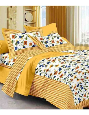 RUDRA 100% Cotton rajasthani jaipuri sanganeri traditional  double bed sheet with 2 Pillow Covers