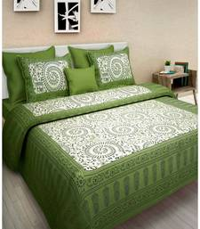 Buy Rudra 100% Cotton Rajasthani Jaipuri Sanganeri Traditional King Size Double Bed Sheet with 2 Pillow Covers bed-sheet online