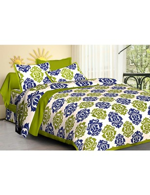 Rudra Rajasthani Bedsheets 100% Cotton Comfort Rajasthani Jaipuri Traditional Double Bedsheets with 2 Pillow Cover