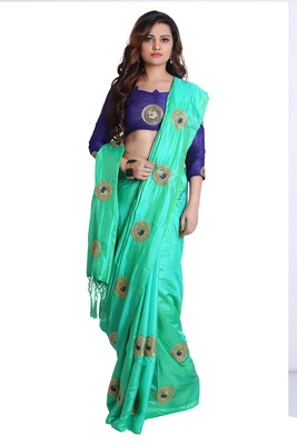 Turquoise green paper silk embroidered saree with unstitched blouse