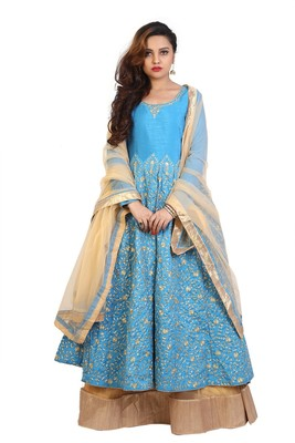 Turquoise Blue with Golden Embroidery Anarkali Lehenga with Net Dupatta