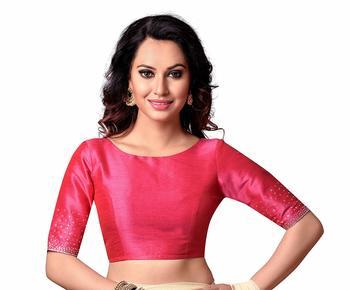 Pink Plain cotton silk readymade-blouse
