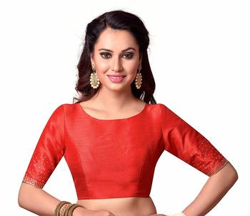 Red Plain cotton silk readymade-blouse
