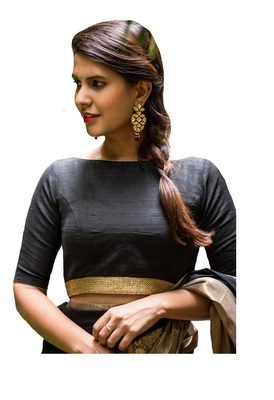 Black Plain cotton silk readymade-blouse