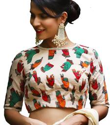 Off White printed silk readymade-blouse
