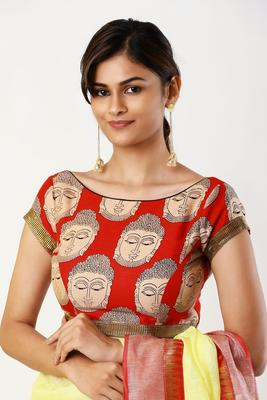 Red printed silk readymade-blouse