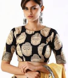 Black printed silk readymade-blouse