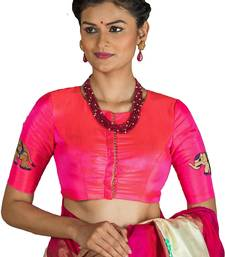Neon Pink embroidered silk readymade-blouse