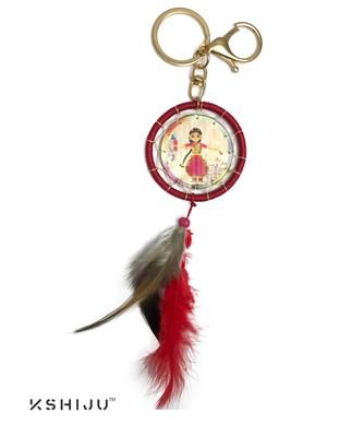 classic print multicolor indian dance form bharatnatyam dream catcher lucky charm key chain keyring handbag charm