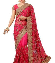 Buy Pink embroidered super net saree with blouse net-saree online