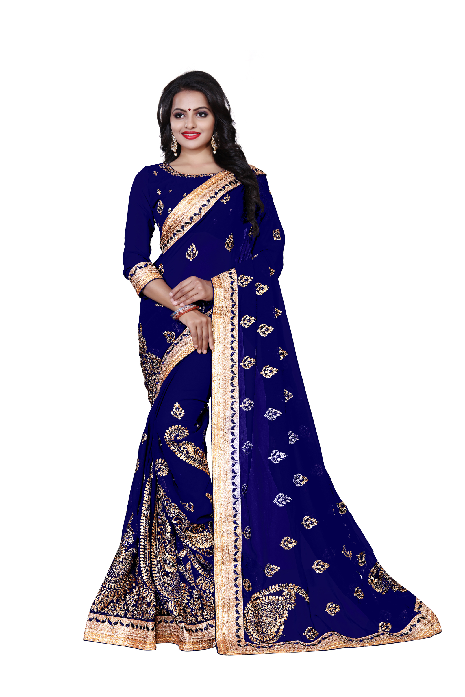 f7e9697da7bd88 Blue embroidered georgette saree with blouse - Geet Fashion Solution -  2806954