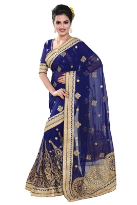 204252010f4f7a Blue embroidered georgette saree with blouse - Geet Fashion Solution ...