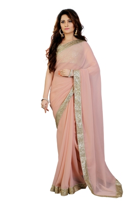 Champange Georgette sequin embroidered border Party wear saree with unstitch blouse