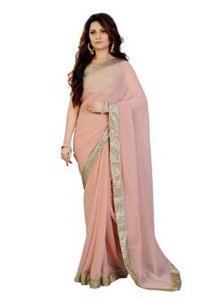 740aa609851 Champange Georgette sequin embroidered border Party wear saree with  unstitch blouse. Shop Now
