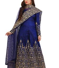 Navy Blue Cording work on 9000 silk semi stitched Anarkali Suit