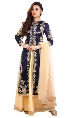 Navy blue embroidered Bangalori silk semi stitched Anarkali Lehenga suit with dupatta