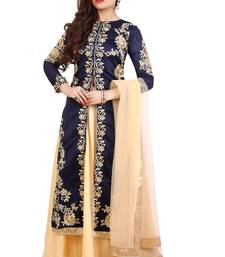 Navy blue embroidered Bangalori silk semi stitched Anarkali Lehenga suit with dupatta