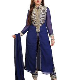 Navy Blue georgette embroidered semi stitiched salwar with dupatta
