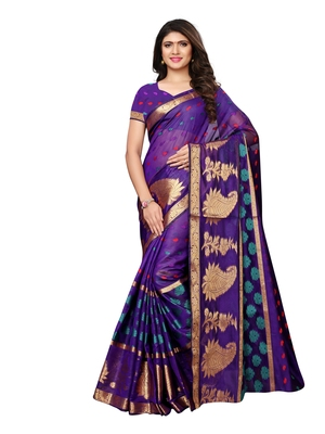 Purple woven chanderi silk saree with blouse