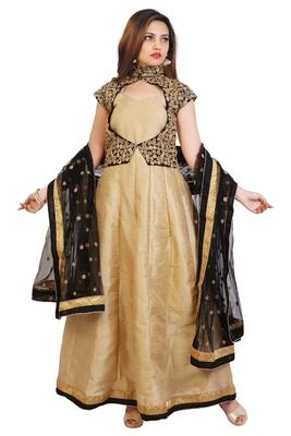 Cream bhagalpuri silk plain semi stitched anarkali suits with unstitched jacket