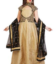 Cream bhagalpuri silk plain semi stitched anarkali suits with unstitched jacket