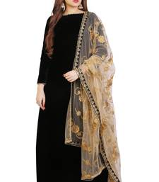Black plain Velvet anarkali suits