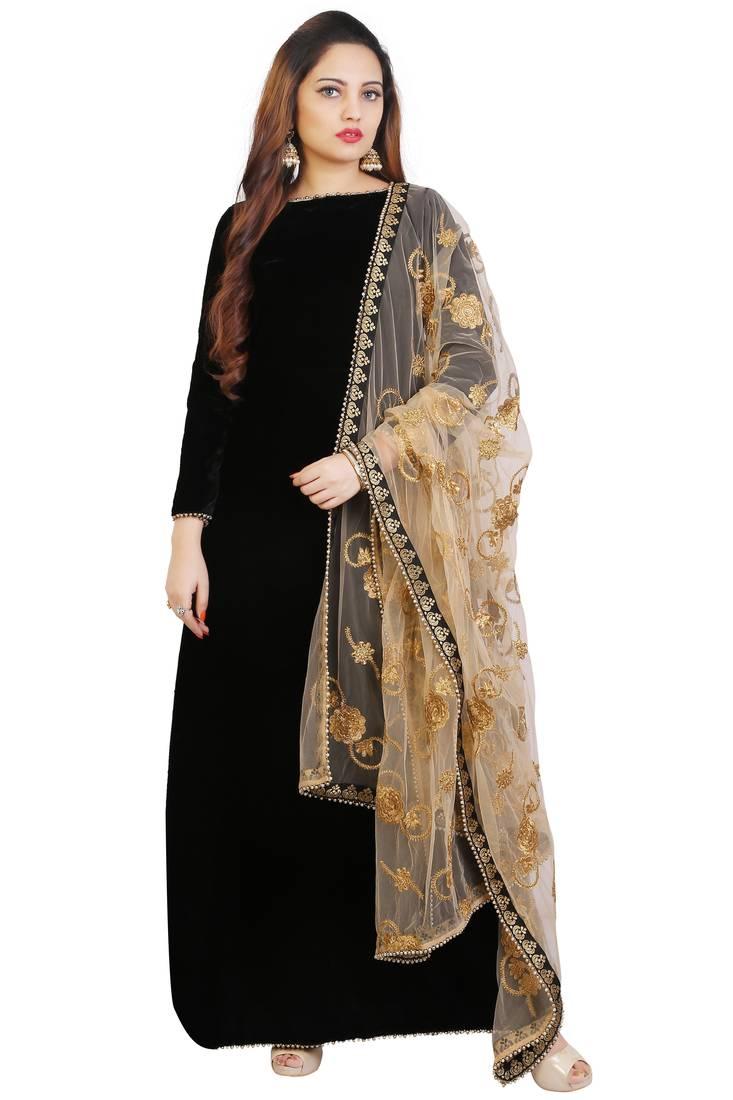 Black Plain Velvet Anarkali Suits Daaginey 2506963