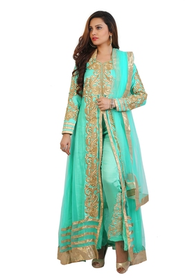 Sea Green and beige embroidered net semi stitched anarkali suit