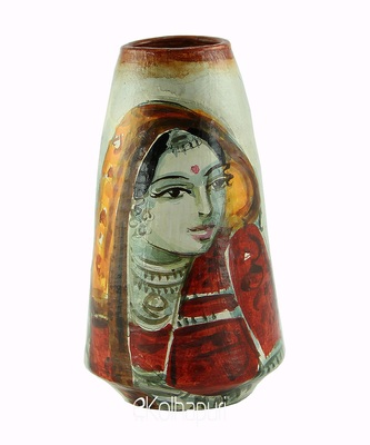 Handmade Pots with Handpainted Village Lady Multicolor Design Teracotta Home Decor/ Flower Pot