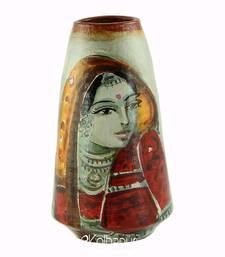 Handmade Pots with Handpainted Village Lady Multicolor Design Teracotta Home Decor/ Flower Pot