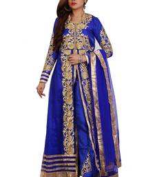 Royal Blue Embroidered Net Semi Stitched Anarkali Suit