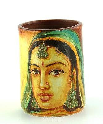 Handmade Pots With Handpainted Rajasthani Women Multicolor Design Teracotta Pen Holder