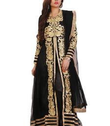 2b6624a25f Black and beige embroidered net semi-stitched anarkali suit Shop Online
