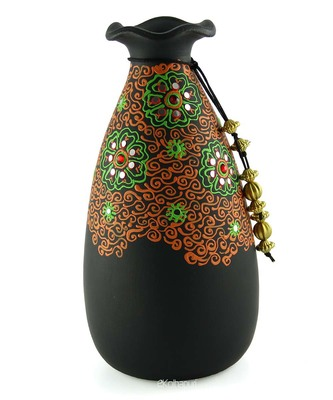 Handmade 3D Color Work Black Vase Terracotta Idols And Figurines/Home Decor/ Showpieces/Pots