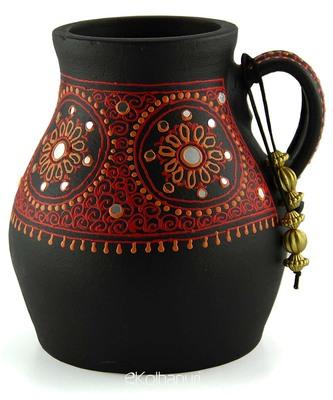 Handmade 3D Color Work Black Vase Terracotta idols and Figurines/Home decor/ Showpieces/Pots