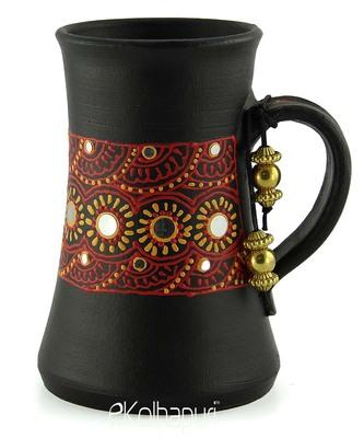 Handmade Pots With Handpainted 3D Color Work Teracotta Black Home Decor/ Flower Pot