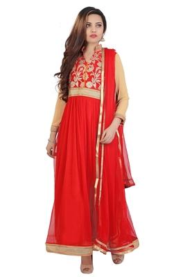 Red Embroidered Art Dupion Silk Anarkali Suit