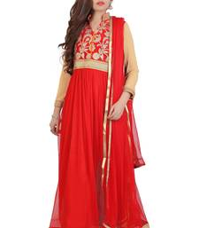 Red Embroidered Art Dupion Silk Anarkali Suit anarkali-salwar-kameez