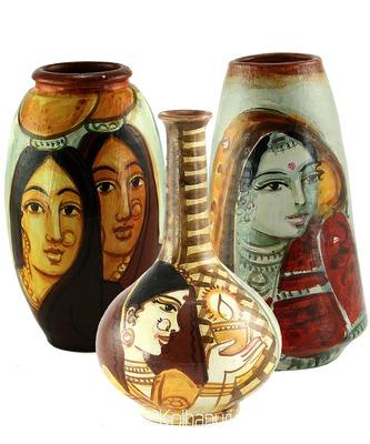 Handmade Pots With Handpainted Mix Design Three Home Decor/ Flower Pot Set
