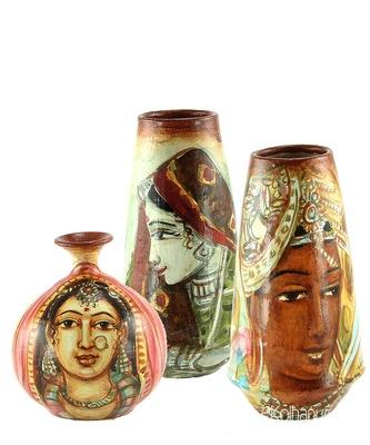 Handmade Mix Design Three Terracotta Pot Set Idols And Figurines/Home Decor/ Showpieces