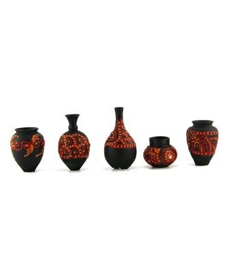 Handmade Pots With Handpainted 3D Work Mini Five Home Decor/ Flower Pot Teracotta Pot