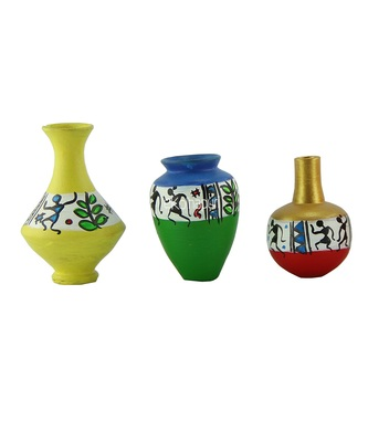 Handmade 3D Work Mini Three Show Piece Terracotta Pot Set Idols And Figurines/Home Decor/ Showpieces