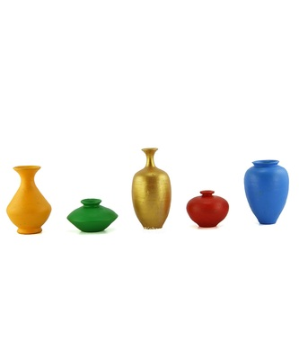 Handmade 3D Work Mini Five Show Piece Terracotta Pot Set Idols And Figurines/Home Decor/ Showpieces