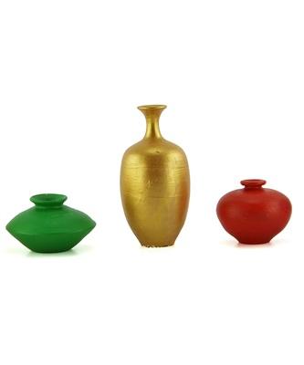 Handmade Pots With Handpainted Mini Three Home Decor/ Flower Pot Teracotta Pot