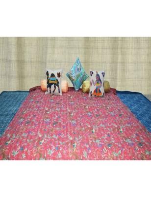 Kantha Quilt Queen Cotton Vintage Throw Blanket Multi Design Indian Handmade GDR0001