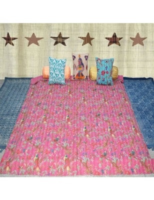 Kantha Quilt Queen Cotton Vintage Throw Blanket Multi Design Indian Handmade GDR0004