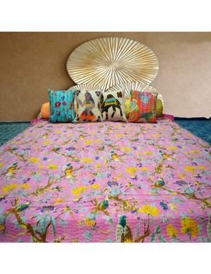 Kantha Quilt Queen Cotton Vintage Throw Blanket Multi Design Indian Handmade GDR0006