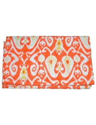 Kantha Quilt Queen Cotton Vintage Throw Blanket Multi Design Indian Handmade GDR0009