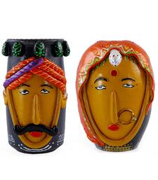 Handmade Colorful Pair Of Male And Female M Seal & Terracotta Showpeice For Home Decor